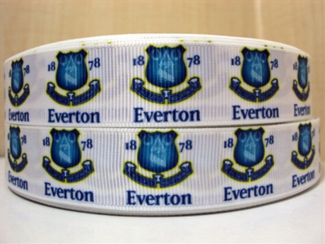 1 METRE OF 1878 EVERTON FOOTBALL CLUB RIBBON SIZE 7/8 HEADBANDS BOWS HAIR CLIPS CARD MAKING